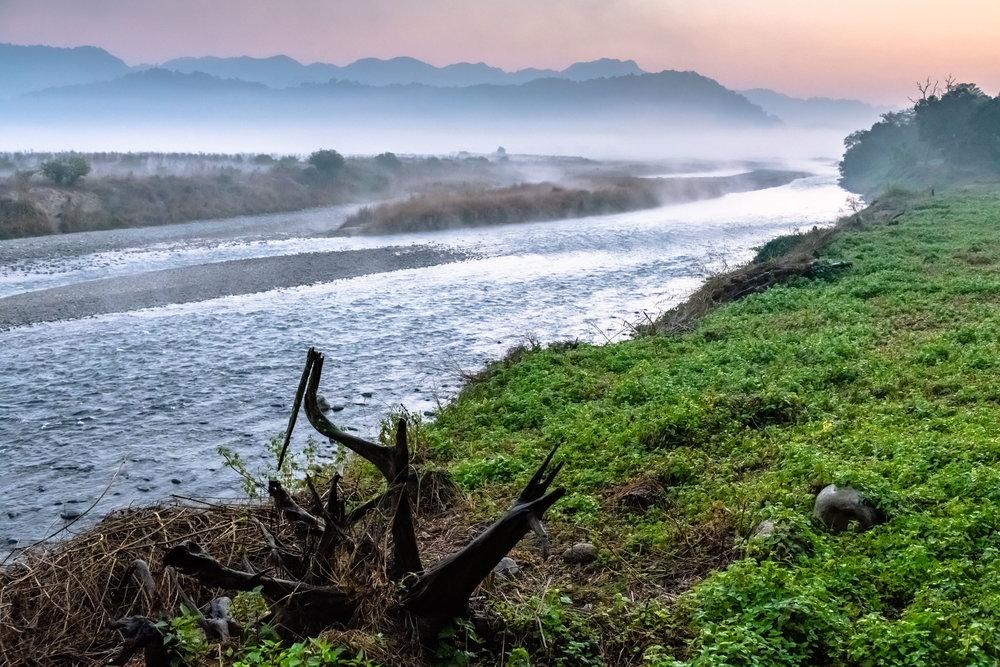 Jim Corbett on banks of Ram Ganga river