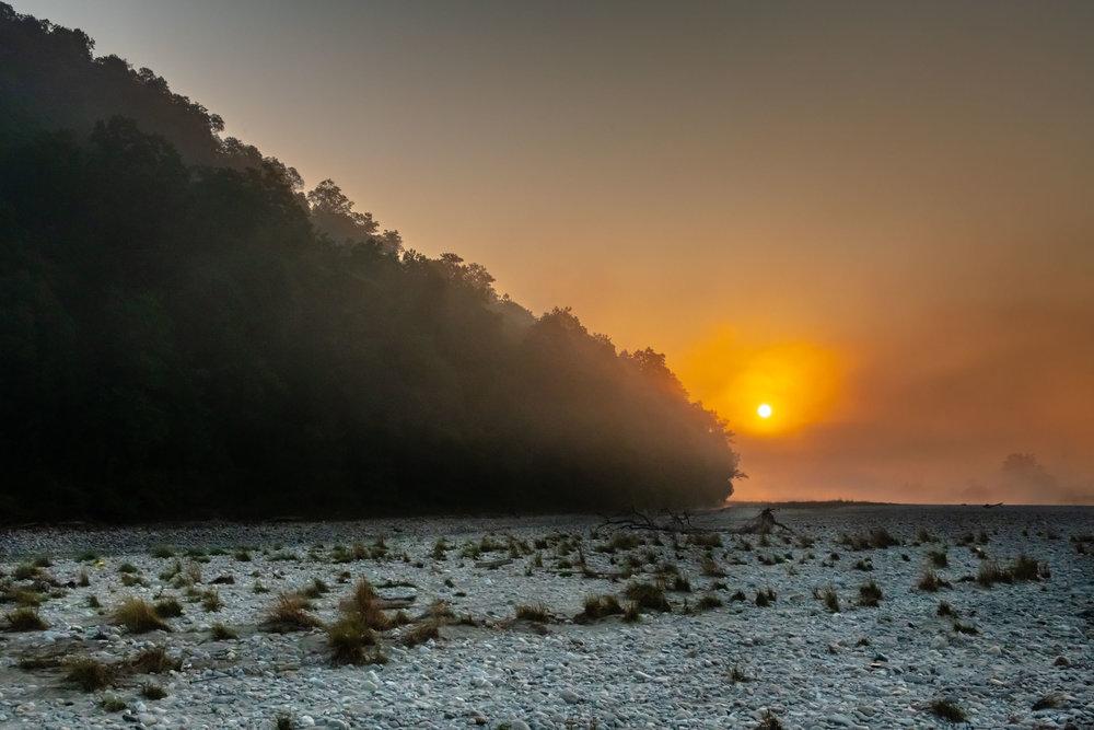 Sunrise in rocky lands of Jim Corbett National Park