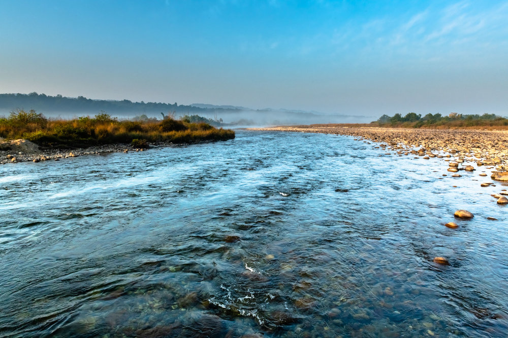 Clear waters of Ramganga river at Jim Corbett