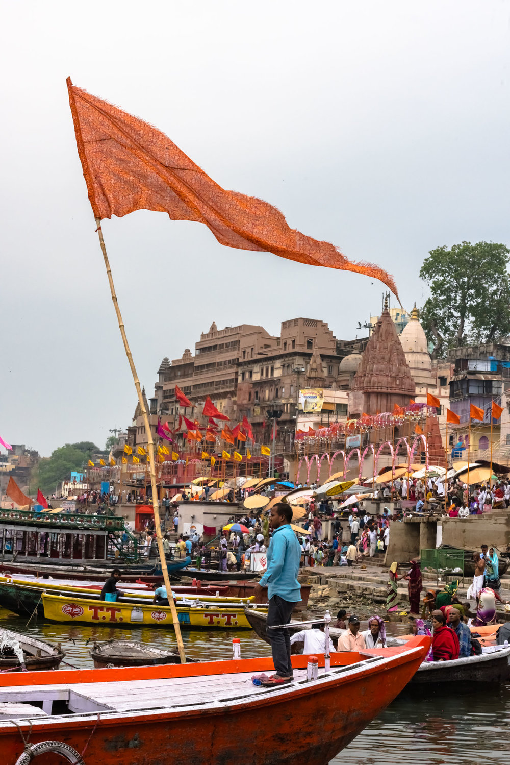 Saffron Flags flying high over Varanasi boats