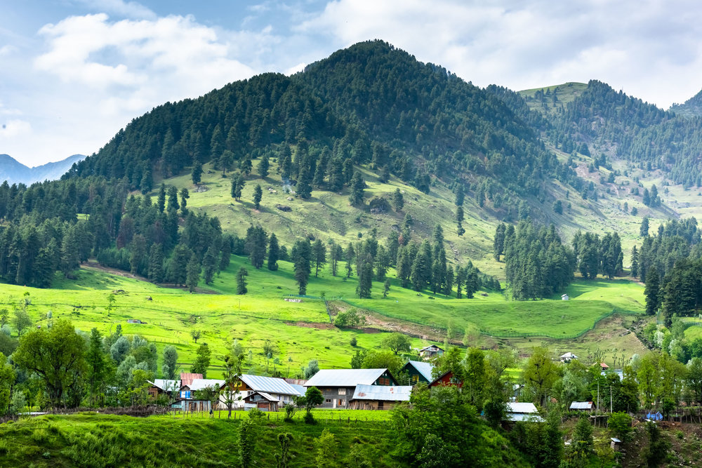 Scenic Meadows and Village at Aru Valley in Pahalgam