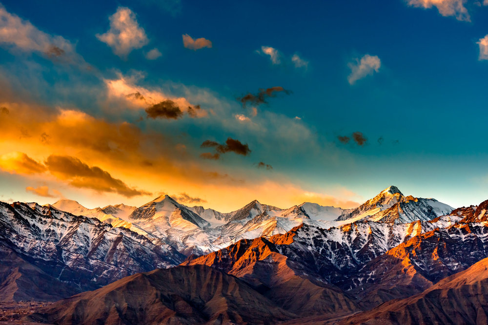Sunrise in Leh Town, Jammu and Kashmir