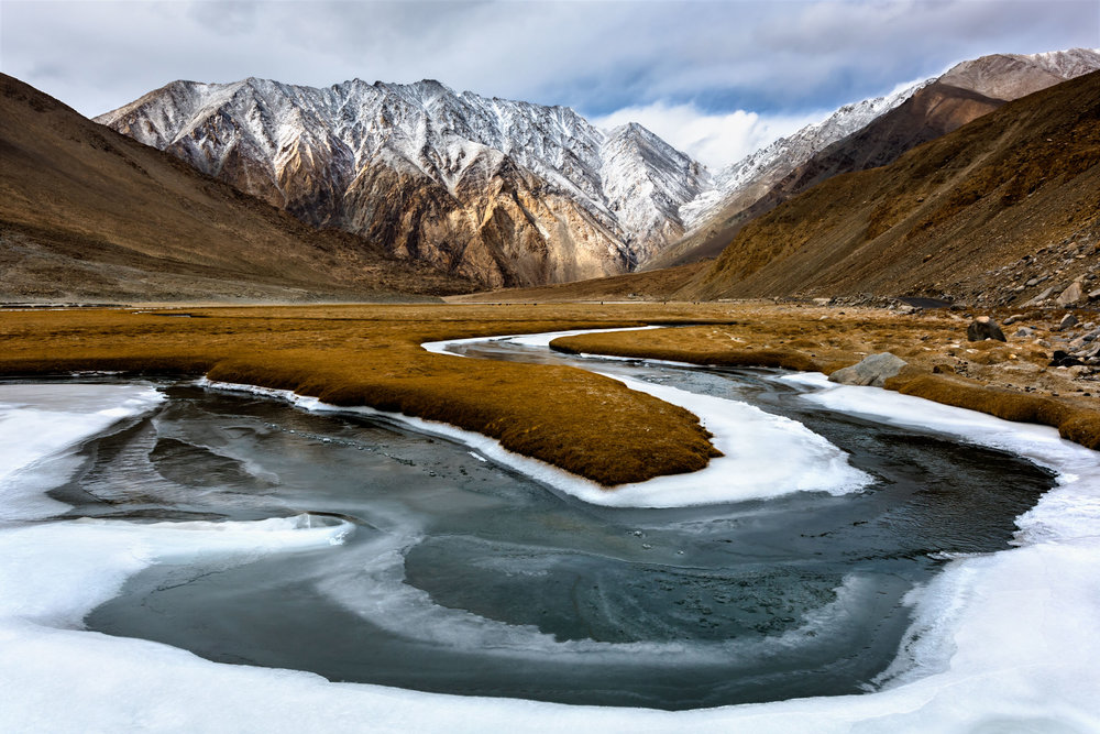 Frozen Streams in Hialayas,Leh, Jammu and Kashmir