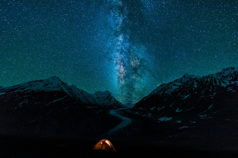 Milkyway over Drang Drung Glacier