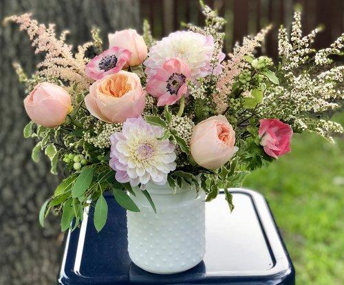 Medium Arrangement In A White Hobnail Vase Hello Poppy