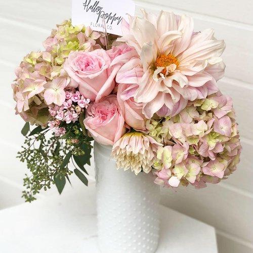 Grande Arrangement In A White Hobnail Vase Hello Poppy