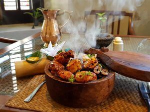 - The antique spice box, used as a serving bowl, accentuates the unique flavours of spices in our kebabs and elevates the experience - not just the taste but also appeal, flavour, aroma and offers invaluable glimpses into our ancient culture.