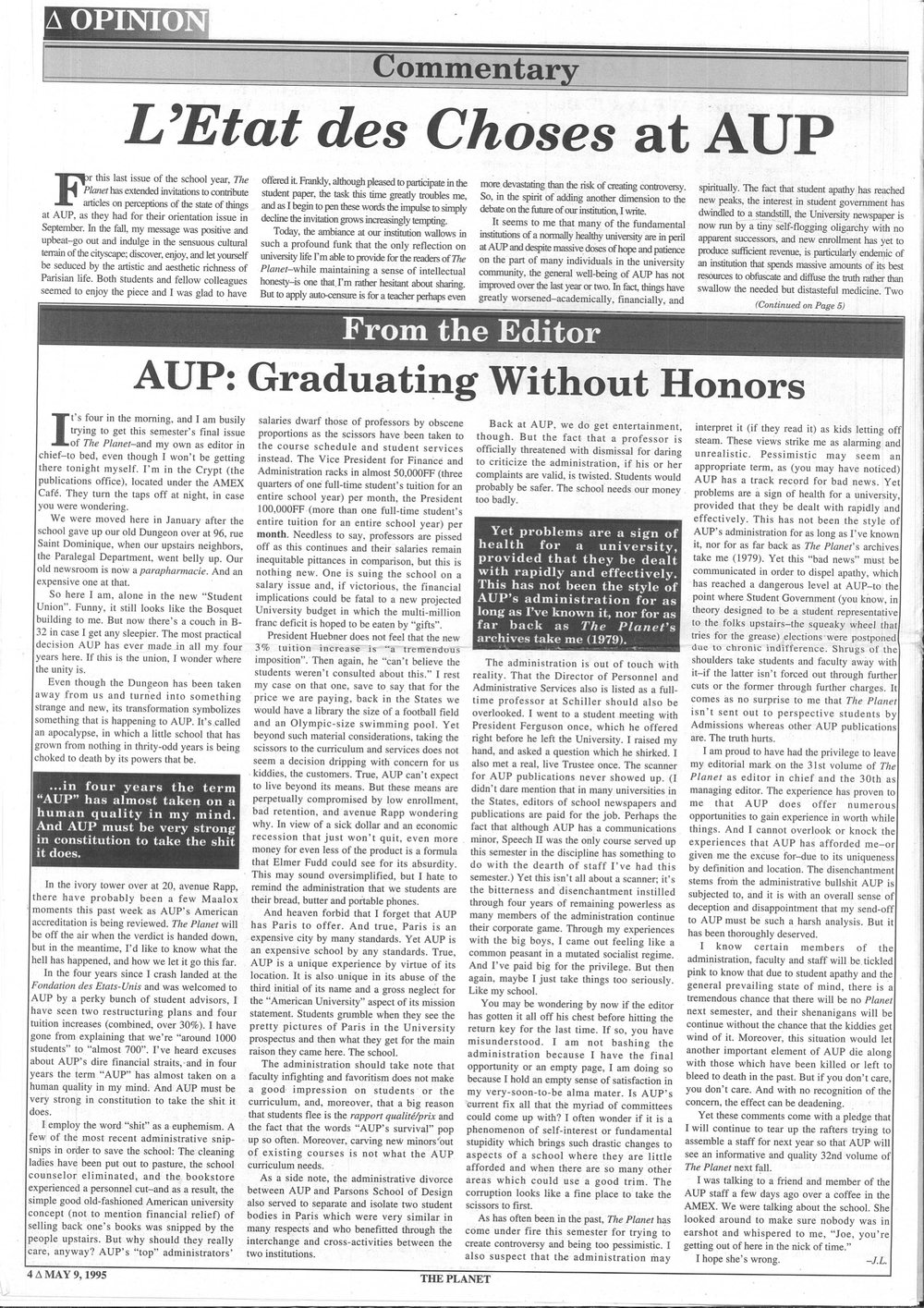 Photocopy of Joseph Loux's Article, AUP Archives