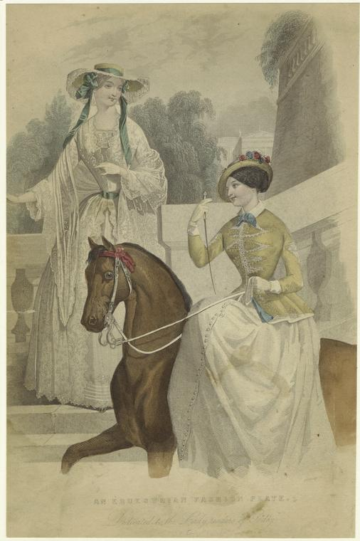 """An Equestrian Fashion Plate."" 1849. Courtesy of The New York Public Library Digital Collections."