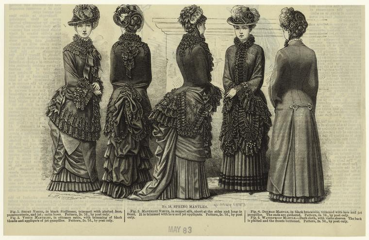 """Spring mantles."" 1883-05. Courtesy of The New York Public Library Digital Collections."