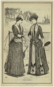 """Tennis-Costumes."" 1889. Courtesy of The New York Public Library Digital Collections."