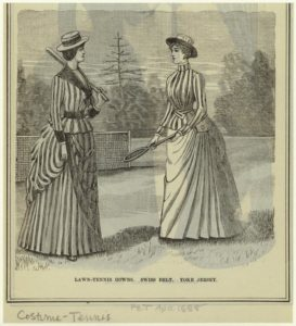 """Lawn-Tennis Gowns, Swiss Belt, Yoke Jersey."" 1888. Courtesy of The New York Public Library Digital Collections."