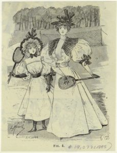 """Woman And Girl With Tennis Rackets."" 1895. The New York Public Library Digital Collections."