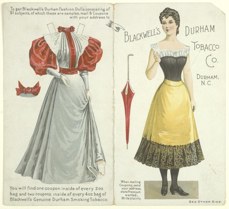 """Blackwell's Durham Fashion Doll [paper doll with dress]"" Courtesy of The New York Public Library Digital Collections."