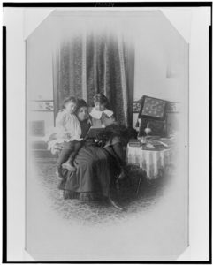 """Marian Hubbard 'Daisy' Bell and Elsie May Bell with governess,"" 1885, Photo courtesy of the Library of Congress"