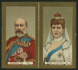 """Presented on the occasion of the coronation of His Majesty King Edward VII, June 26th, 1902."" Cigarette cards, The New York Public Library Digital Collections."