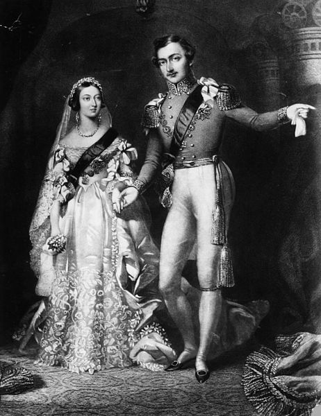 10th February 1840: Queen Victoria (1819 - 1901) and Prince Albert (1819 - 1861) on their return from the marriage service at St James's Palace, London. Original Artwork: Engraved by S Reynolds after F Lock. Courtesy of  WikiMedia Commons