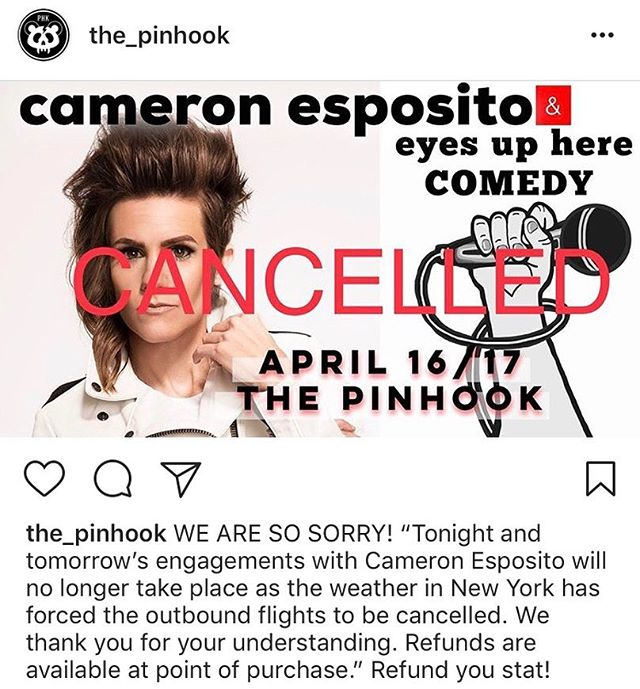 dang that weather got rid of our fun with @cameronesposito at @the_pinhook 😭😭😭