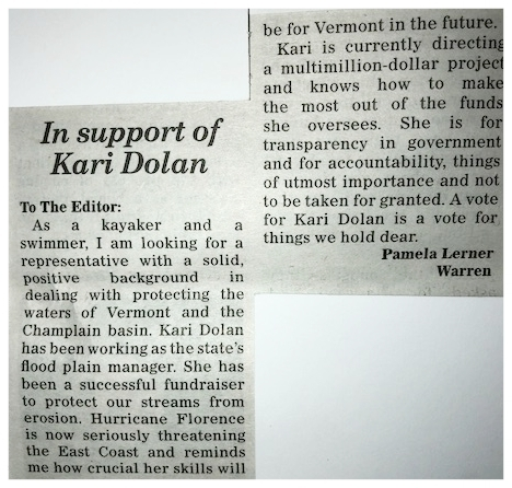 Here's another letter to the editor in the Valley Reporter this week (9/13 edition) by Pamela Lerner of Warren, supporting my candidacy for State Representative. Thank you, Pam! I appreciate your vote of confidence!