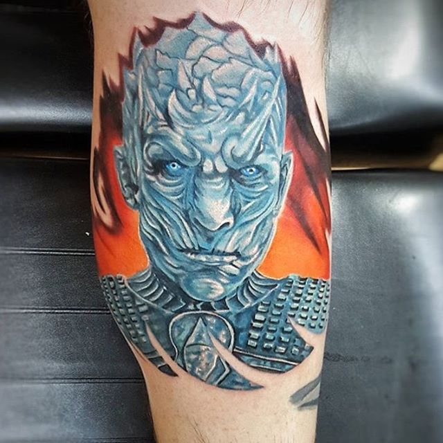 Who's ready for more Game of Thrones? We know @robert_beeman is! Find him and talk GOT theories at our Canton location.  #georgiatattoos #eastcoasttattooers #portrait #got #gameofthrones #whitewalker #iceking #tattoo #legtattoo #color #nerd #nerdytattoo #planetinktattoos