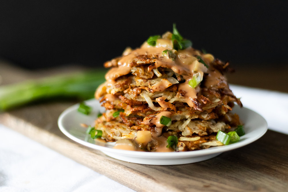 I've never met a potato dish I didn't like, but my all time favorite way to eat a potato is a latke! Golden brown potato pancakes, fried up to crispy perfection. Deciding to marry my favorite potato dish with my favorite sandwich to create a vegan ruben latke is almost too much for me to handle. Thinly sliced seitan works so well in this recipe, and mixes beautifully with the potatoes and tangy sauerkraut. You can follow my recipe for basic  seitan  ,or use your own favorite recipe, or store brand. So, if you are eating these to celebrate Hanukkah, or just to celebrate your love for latkes and rubens, I hope you enjoy them as much as I do!