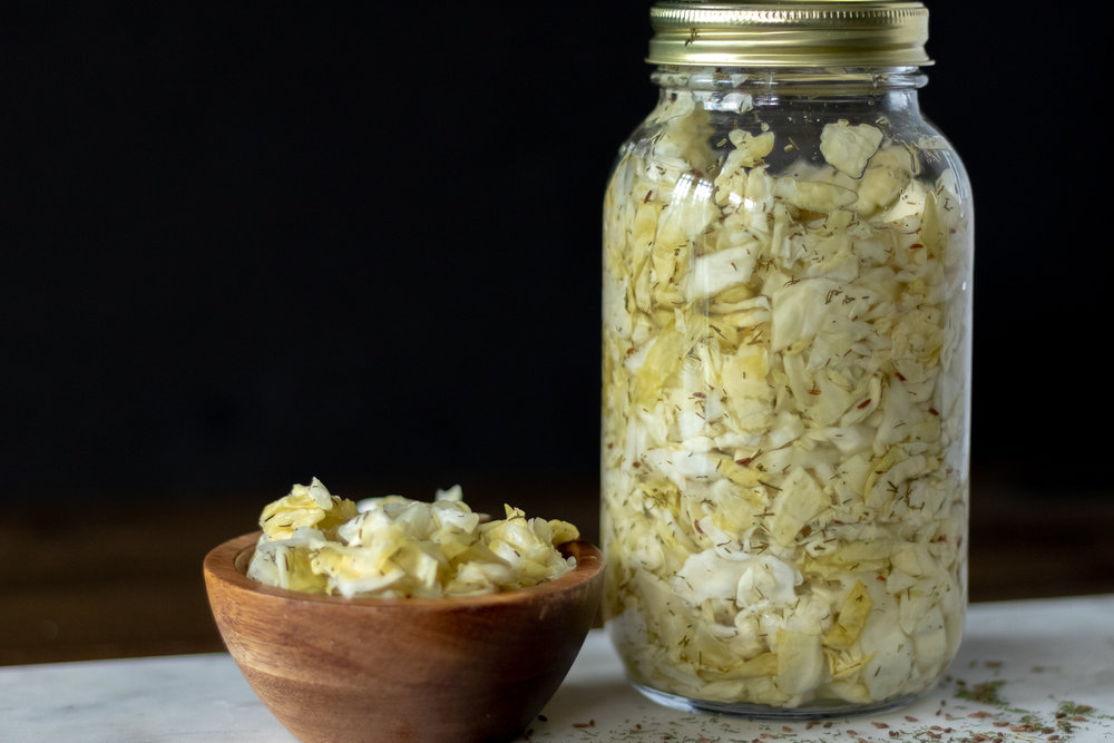 Quick refrigerator sauerkraut is so easy to make, in fact you can whip up a batch in as little as 15 minutes. Just chop, microwave, and refrigerate! See, easy peasy. Now who wants a Ruben?!?!