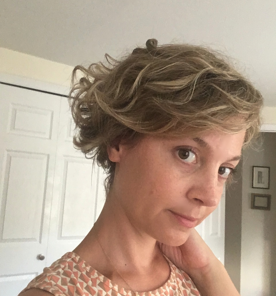 """The """"shortie"""" wig after a touch-up from Merria Dearman."""