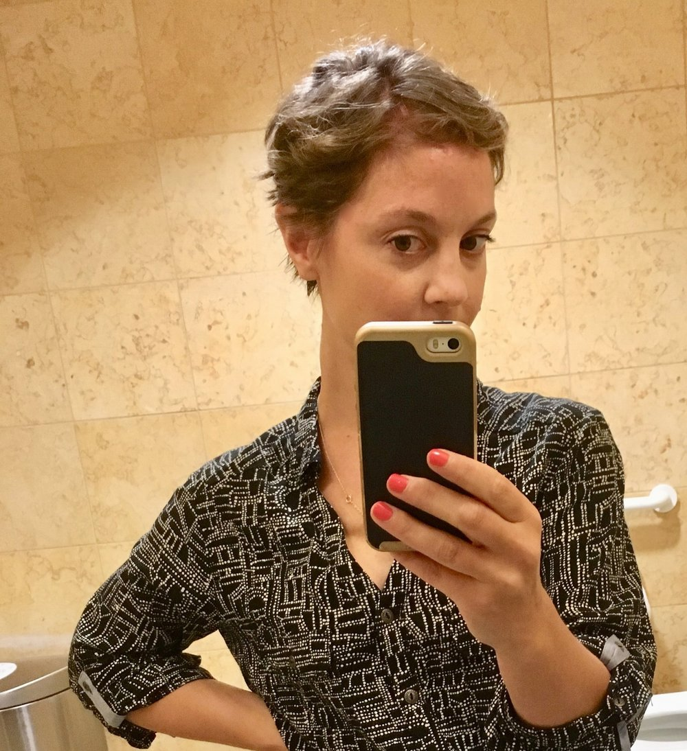Another MSKCC bathroom selfie. This is 48 hours after the pixie chop, and my hair is already too thin and scraggly.
