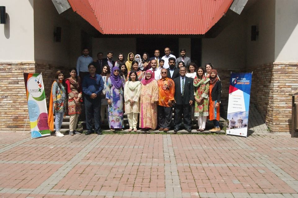 Participants from Virtual University, Pakistan at the International Entrepreneurship Boot camp by FJWU, Pakistan
