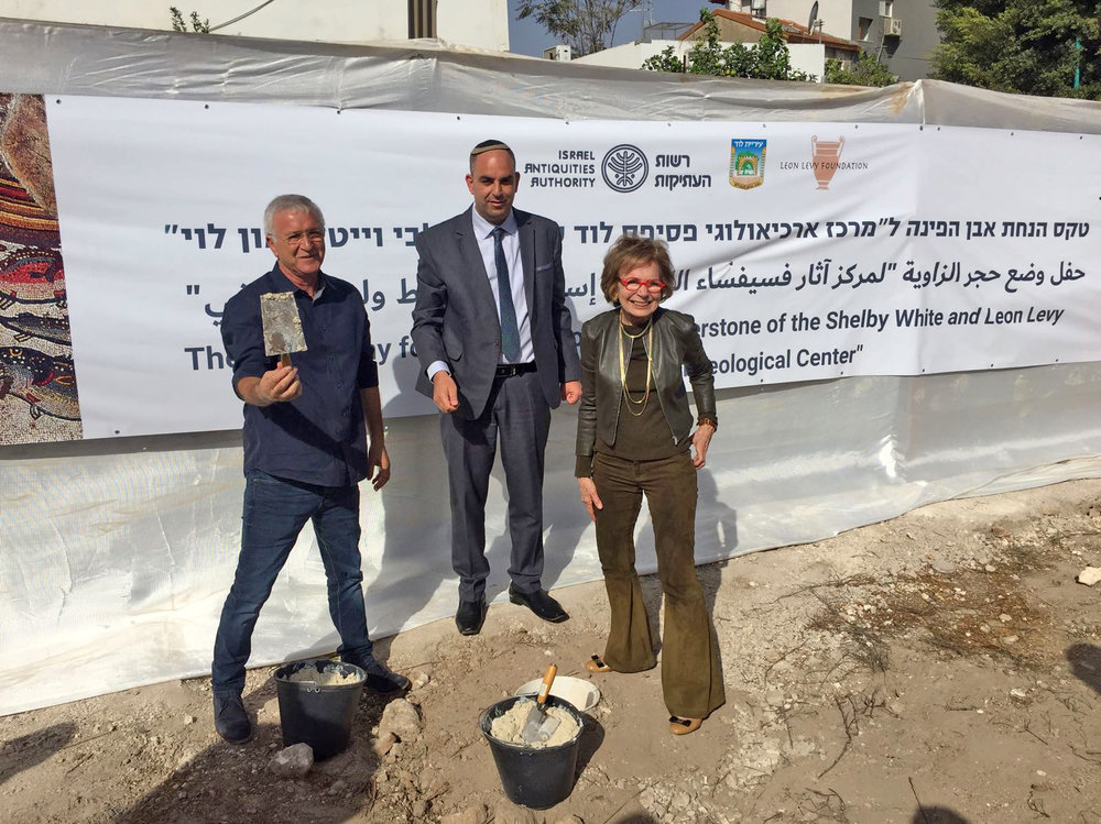 Israel Hasson, Yair Revivo and Shelby White (L-R), laying the cornerstone.