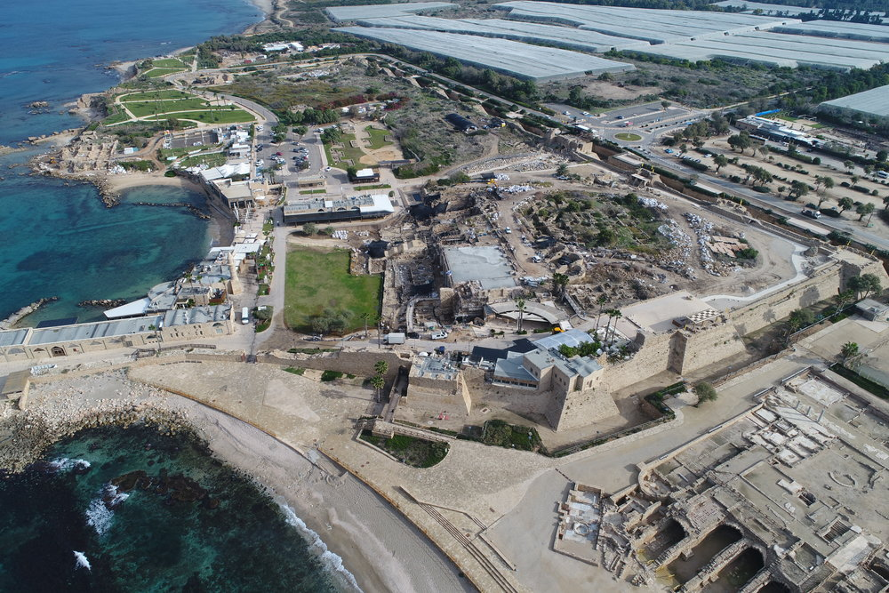 Aerial photos of Caesarea ancient port.  Photo:  Yaakov Shimdov, Israel Antiquities Authority