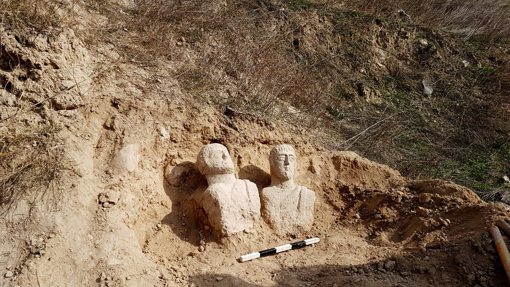 The two busts uncovered.  Photo:   Eitan Klein, Israel Antiquities Authority