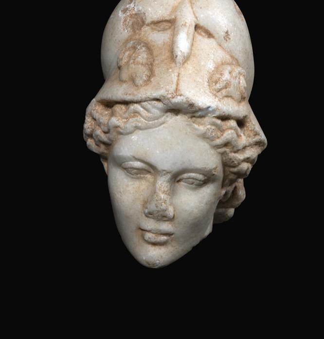 A roman marble head of Minerva - Seized in the antiquities market and supposed to be returned to Libya.