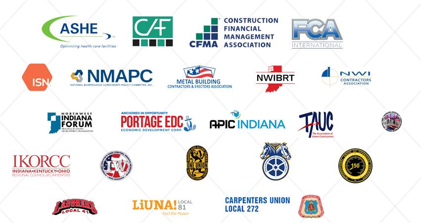 Picture featuring logos of associations and organizations we belong to.