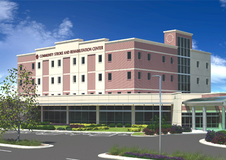 A rendering of the upcoming Community Health Stroke and Rehabilitation Center