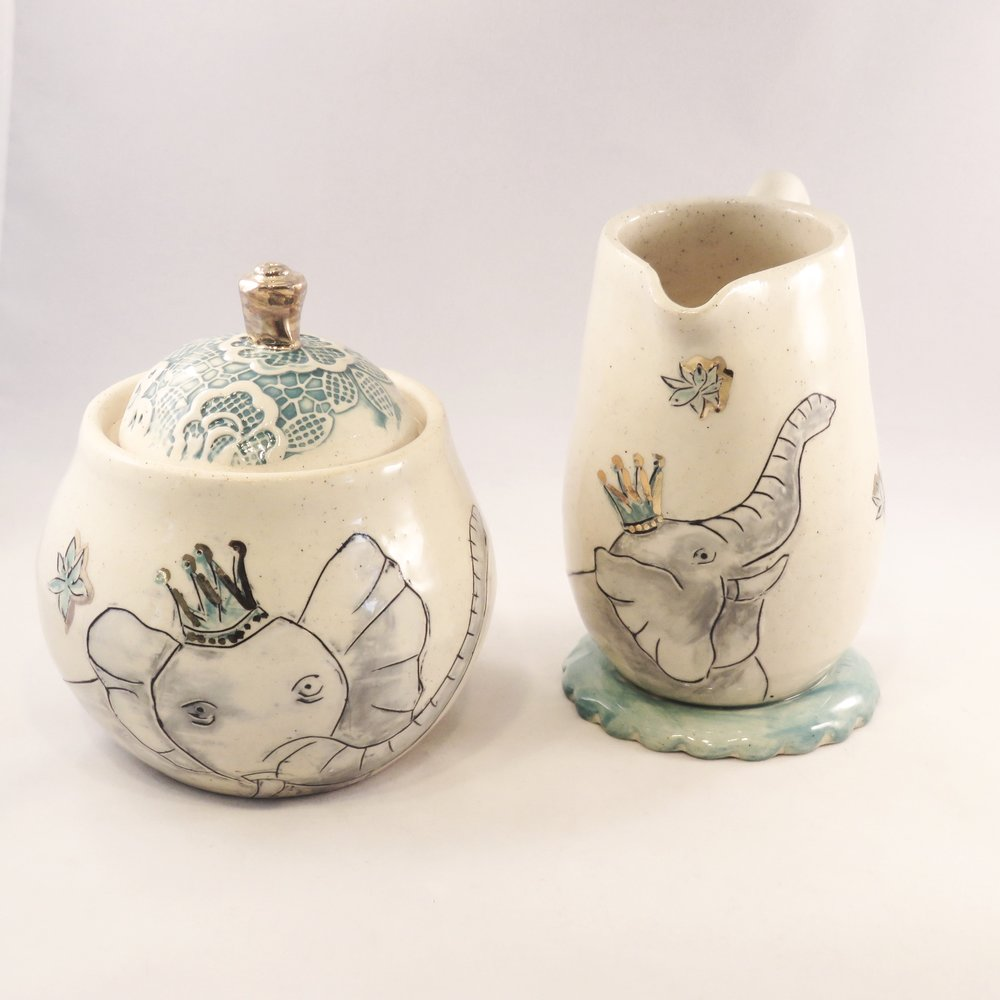 Elephant Sugar and Creamer Set