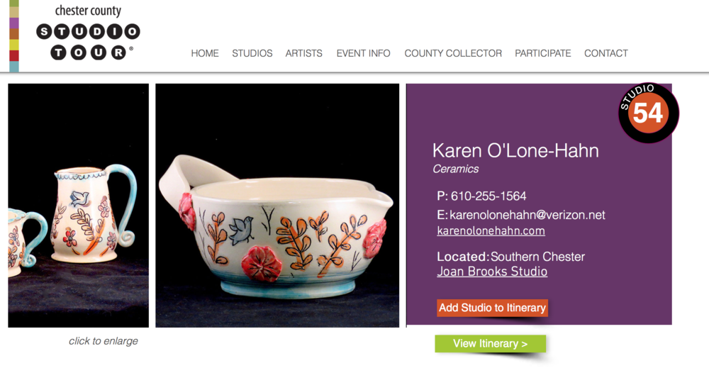 I will be sharing a studio with fellow potter Joan Brooks. We are studio #54 on the tour map