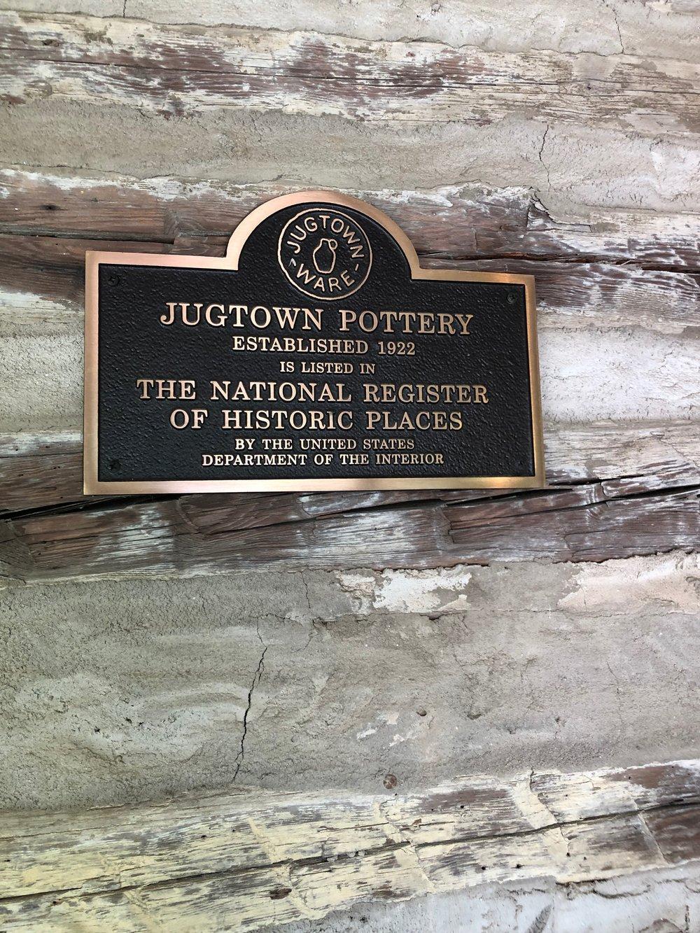Jugtown plaque