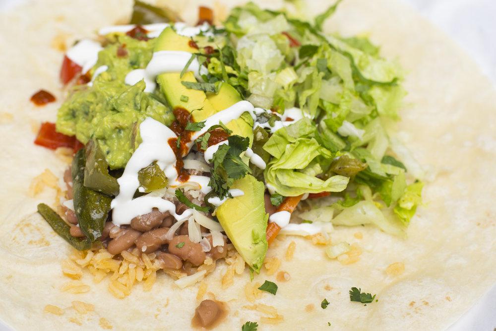 Vegetarian burrito (open)