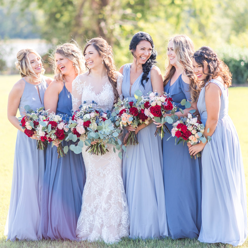 Beautiful bride and her bridesmaids.