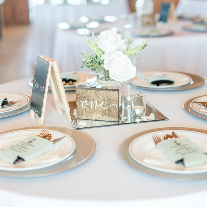 A table set for wedding guests.