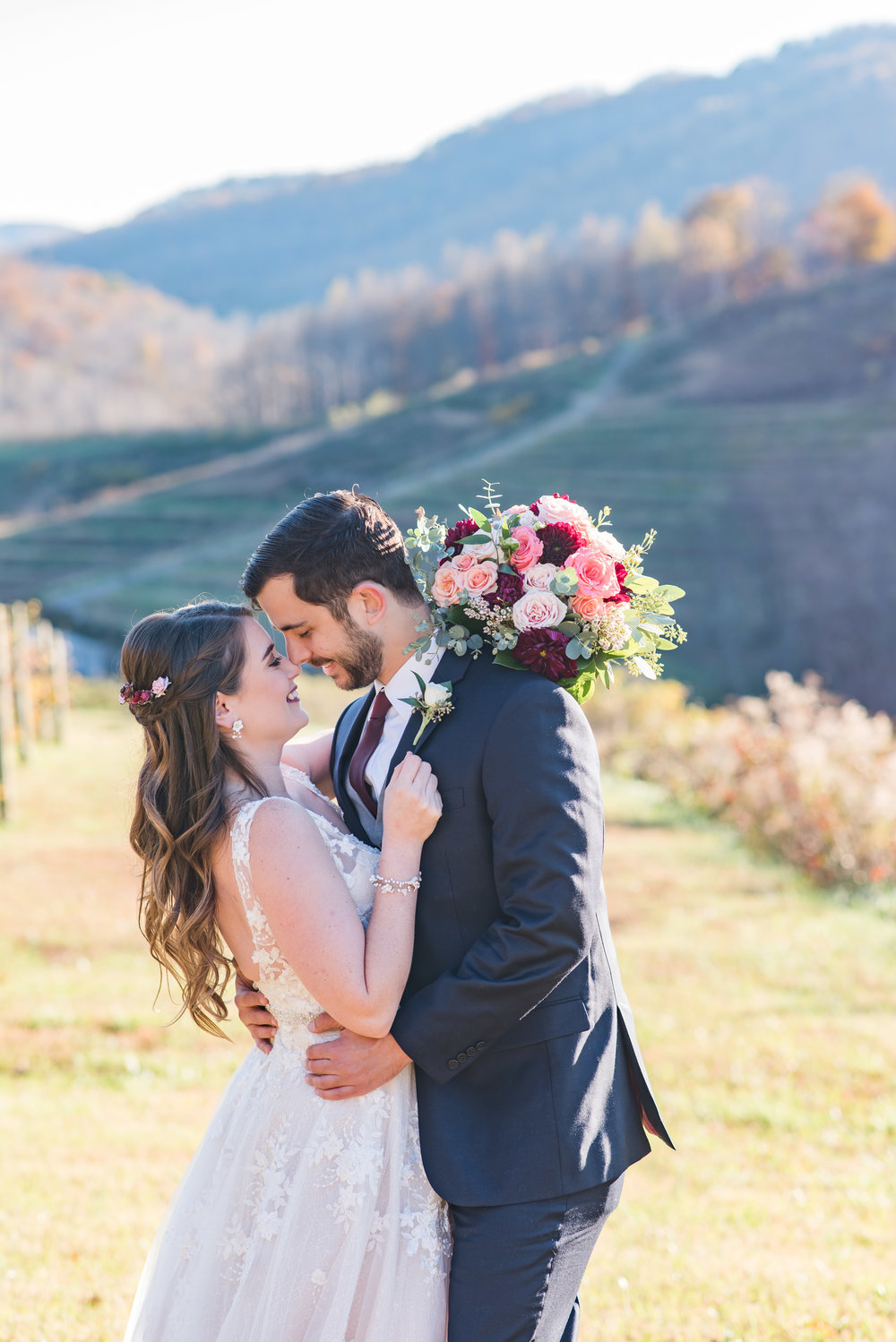 Bride and Groom portrait at a mountain vineyard.