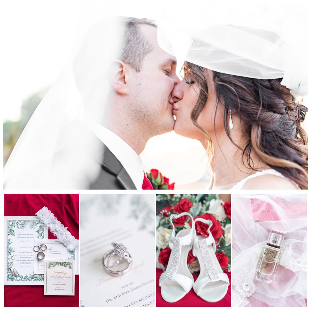 Wedding images of bride and groom kissing during their Christmas themed wedding.