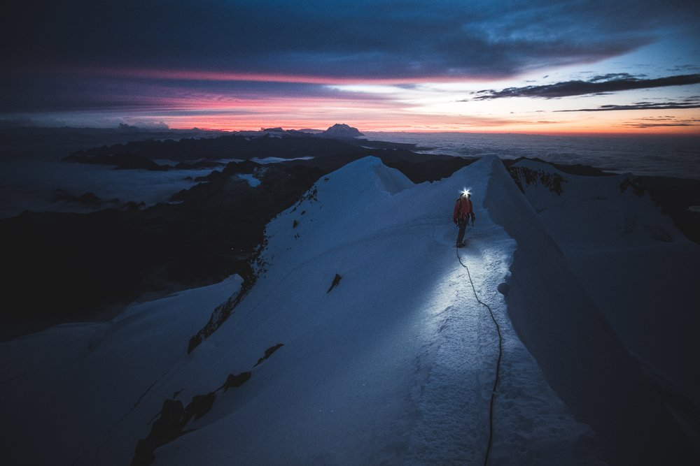 Ramona on her last steps to the summit of Huayna Potosí 6.088 m