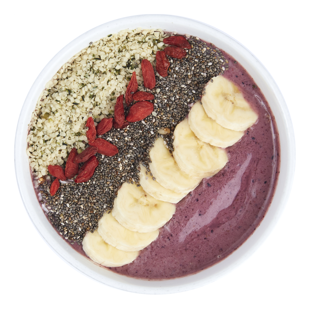 Açai Protein Bowl  - $10.99  Banana, acai, cherries, almond butter, almond milk,  vegan protein, cinnamon  Toppings: banana, hempseed, chia seed, goji berry
