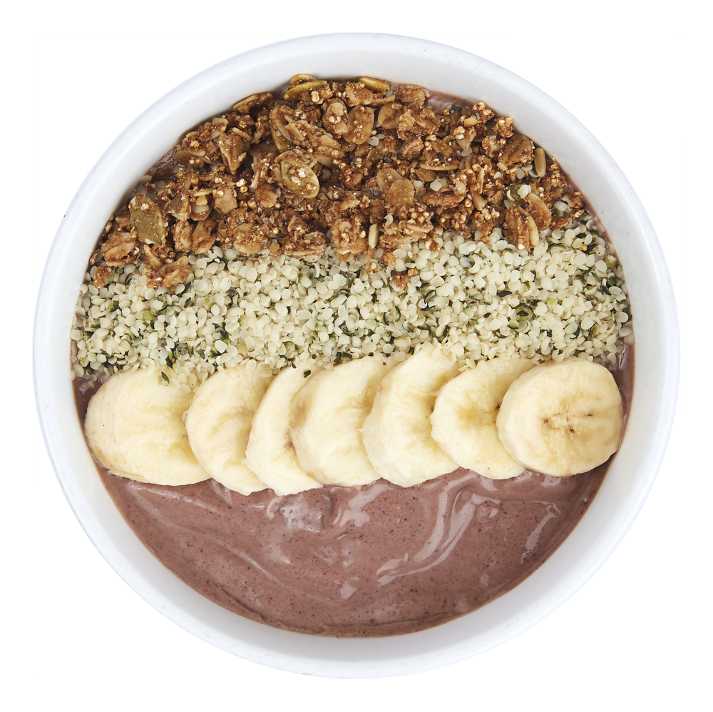 Açai   Chocolate bowl  - $10.50  Banana, acai, avocado, cocoa powder, maple syrup,  almond milk.  Toppings: banana, hempseed, granola.