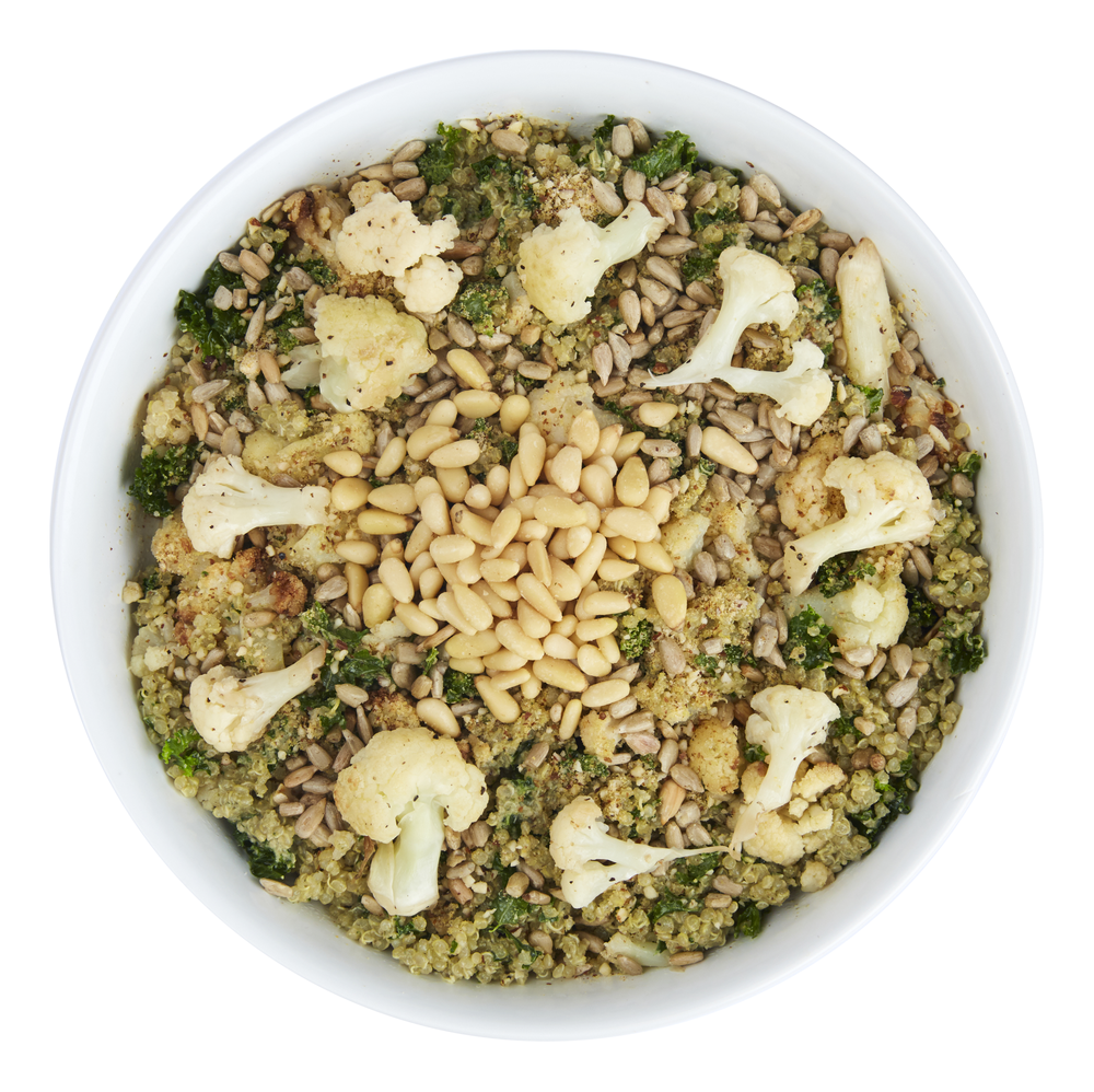 Italian Pesto Bowl  - $10.99  Cauliflower, quinoa, pesto, kale, pine nuts, spicy sunflower seeds, almond parmesan