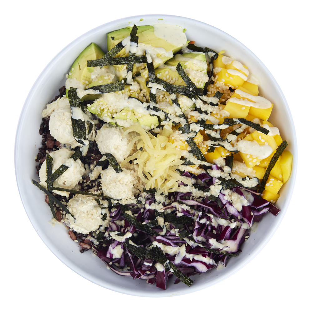 Philadelphia Sushi Bowl  - $10.99  Rice blend, cashew cheese, avocado, cabbage, mango, nori strips, ginger, cashew sauce