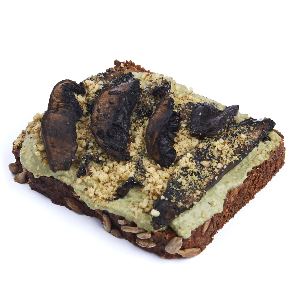 "Pesto with Portobello ""bacon"" and almond parmesan  $10.99"
