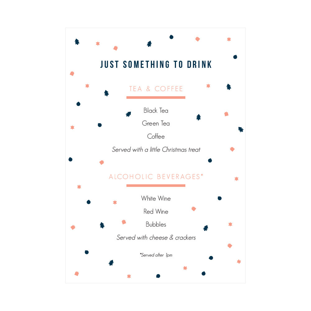 Just An Inch Drinks Menu Design